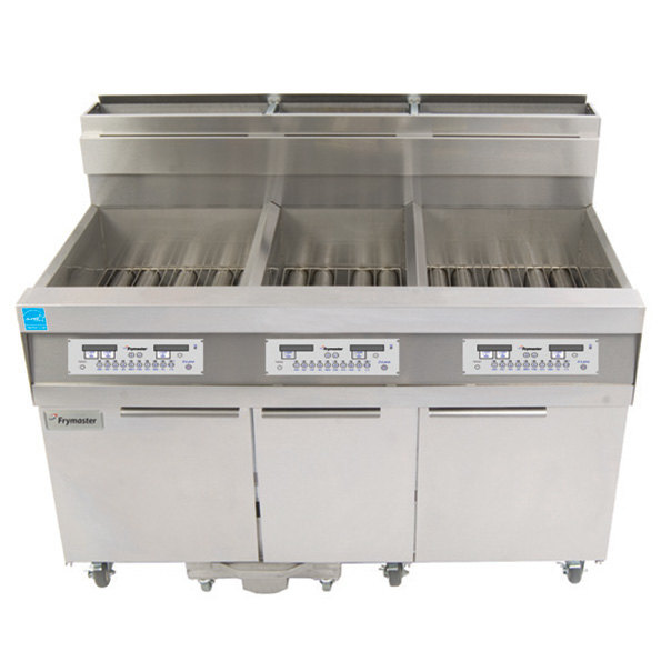 Frymaster 814HD50D Natural Gas Hybrid High-Production 63 lb. and 50 lb. Floor Fryer with Digital Controls - 119,000 and 100,000 BTU