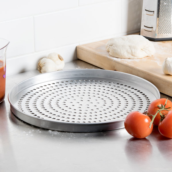 """American Metalcraft SPA4015 15"""" x 1"""" Super Perforated Standard Weight Aluminum Straight Sided Pizza Pan"""
