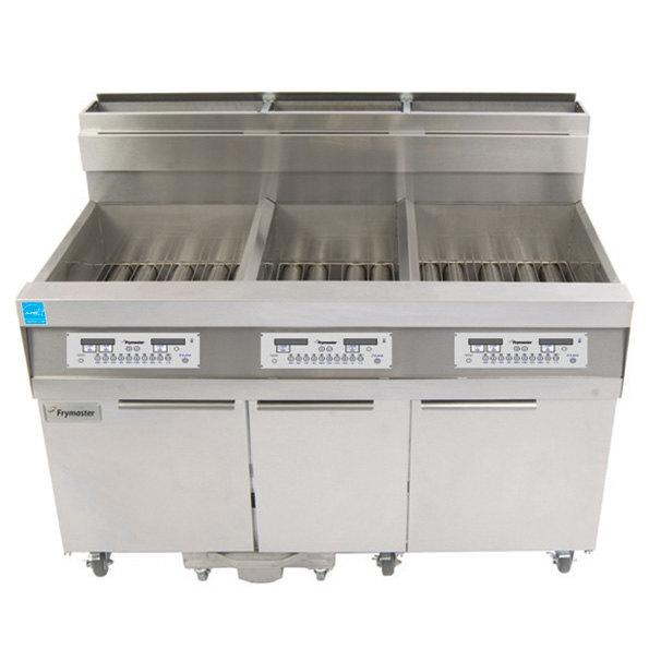 Frymaster 814HD50SL Liquid Propane Hybrid High-Production 63 lb. and 50 lb. Floor Fryer with SMART4U Lane Controls - 119,000 and 100,000 BTU