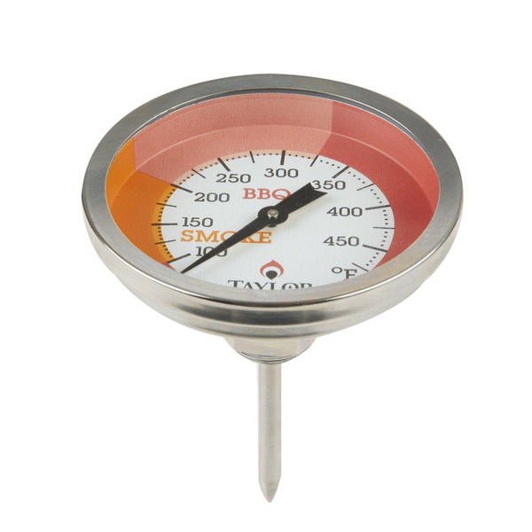 "Taylor 814GW 2 3/4"" Outdoor Grill / Smoker Dial Thermometer with Stem"