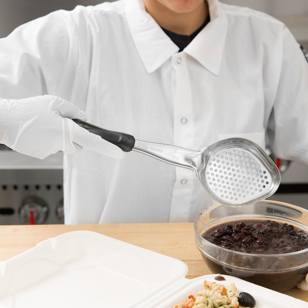 Vollrath 6422520 Jacob's Pride 5 oz. Black Perforated Oval Spoodle® Portion Spoon Main Image 2