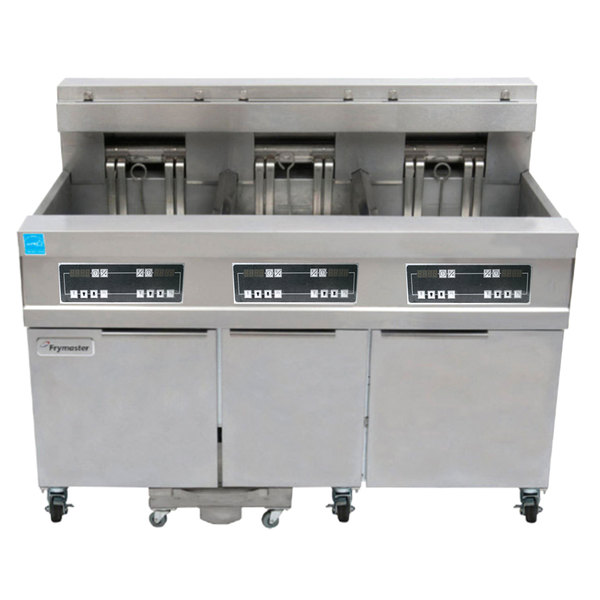 Frymaster 11814E/RE17/11814E 170 lb. High Production Electric Floor Fryer with Digital Controls - 240V, 3 Phase, 17 kW