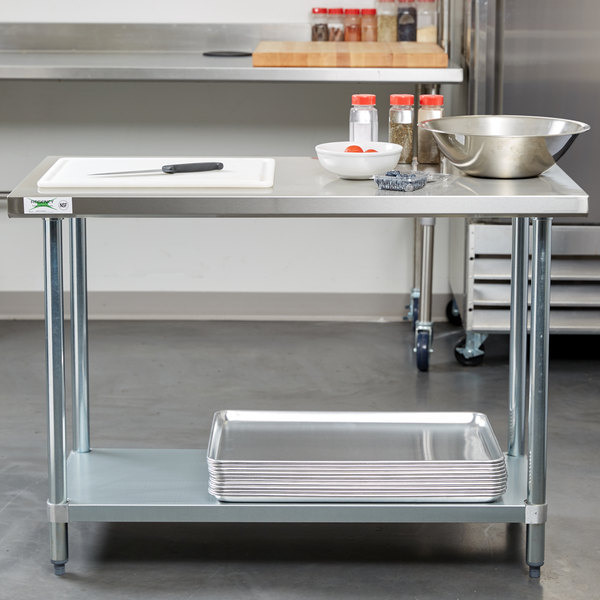 "Regency 24"" x 48"" 18-Gauge 304 Stainless Steel Commercial Work Table with Galvanized Legs and Undershelf"