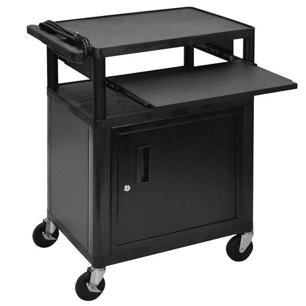 "Luxor LP34CLE-B 3-Shelf Plastic AV Cart with Steel Locking Cabinet - 18"" x 24"" x 34"" Main Image 1"