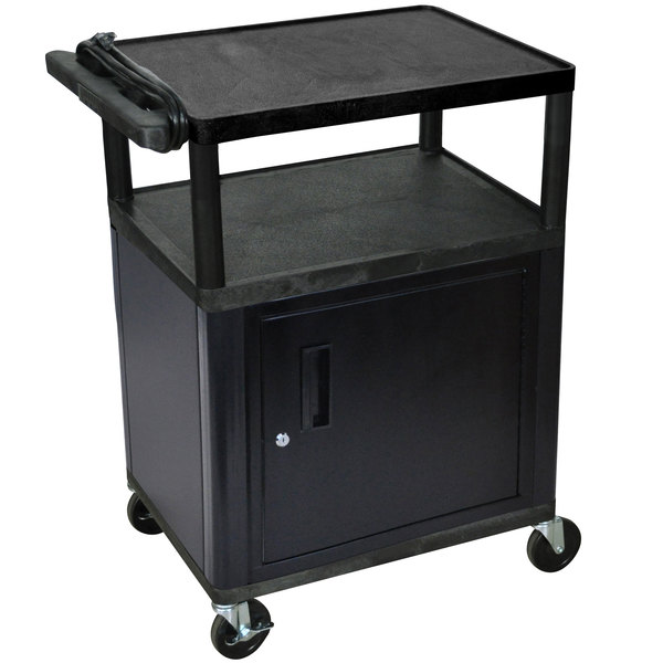 "Luxor LP34CLE-B 3-Shelf Plastic AV Cart with Steel Locking Cabinet - 18"" x 24"" x 34"""