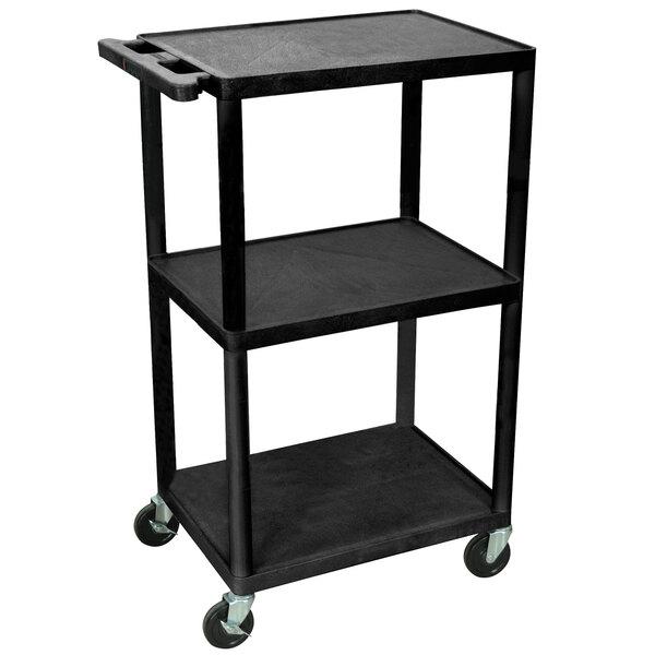 Lpduoe b black 42 adjustable three shelf av cart with three luxor lpduoe b black 42 adjustable three shelf av cart with three outlets and cord sciox Gallery