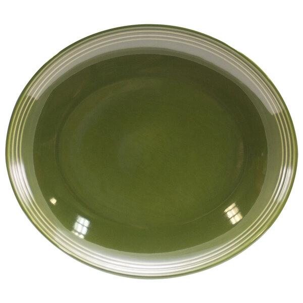 """Homer Laughlin 13239391 Bosque Moss 10"""" Oval Platter - 12/Case"""