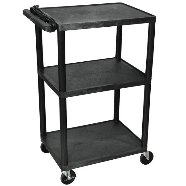 "Luxor LP42E-B Black 42"" Three Shelf AV Cart with Three Outlets and Cord Main Image 1"