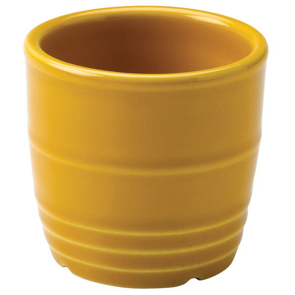 "Homer Laughlin 13329518 Bosque Goldenrod 2 5/8"" Sugar Caddy / Sauce Cup - 36/Case"