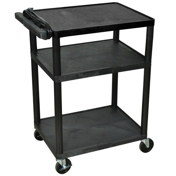 """Luxor LP34E-B Black 34"""" Three Shelf AV Cart with Three Outlets and Cord"""