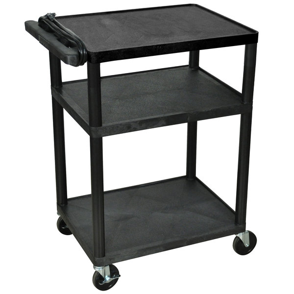 """Luxor LP34E-B Black 34"""" Three Shelf AV Cart with Three Outlets and Cord Main Image 1"""