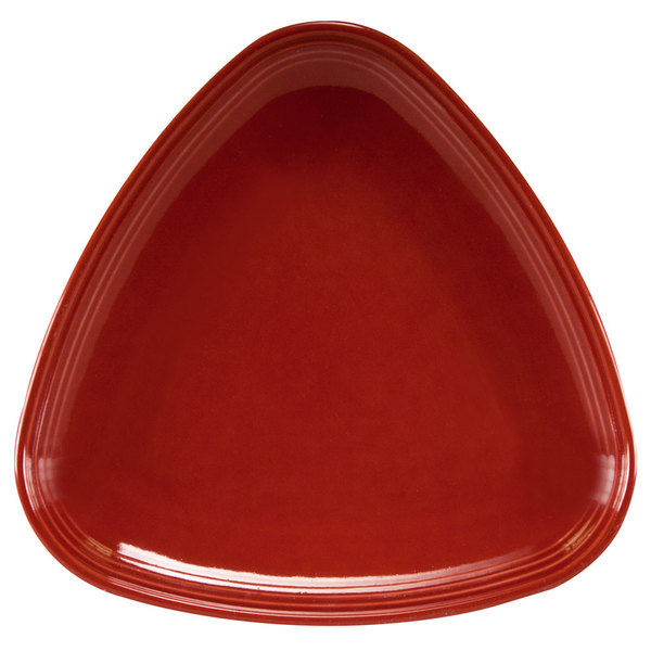 "Homer Laughlin 13199390 Bosque Chestnut 8 3/4"" Triangle Plate - 12/Case"