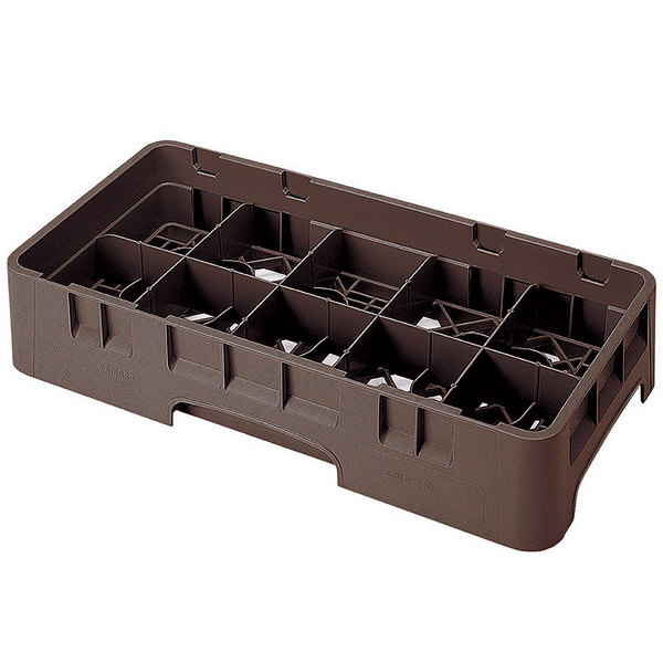 """Cambro 10HS1114167 Brown Camrack 10 Compartment 11 3/4"""" Half Size Glass Rack"""