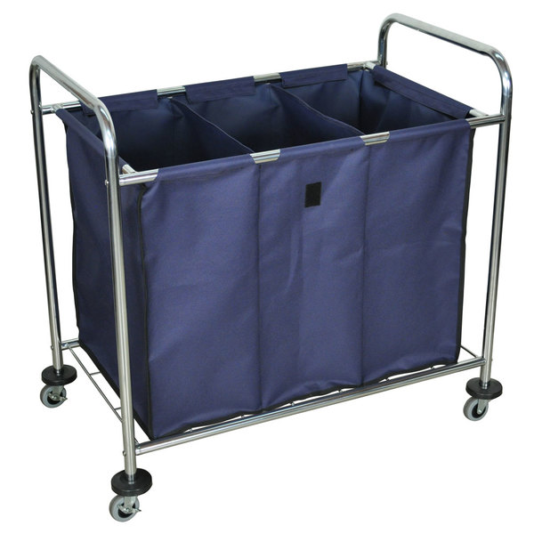 """Luxor HL15 7 Bushel 3-Compartment Industrial Laundry Cart with Dividers - 38 1/2"""" x 24 3/4"""" x 36 1/2"""""""