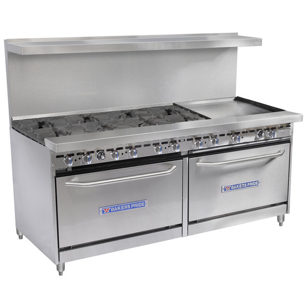 """Bakers Pride Restaurant Series 72-BP-8B-G24-S30 Natural Gas 8 Burner Range with Two Standard 30"""" Ovens and 24"""" Griddle"""
