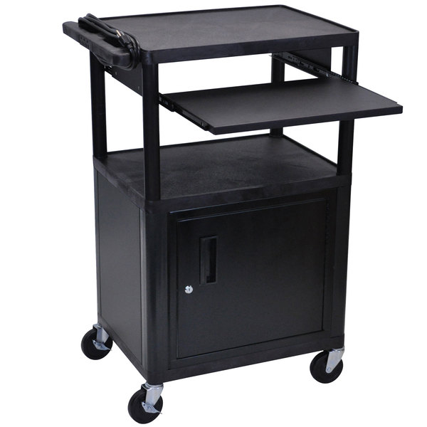 "Luxor LP42CLE-B 3-Shelf Plastic AV Cart with Steel Locking Cabinet - 24"" x 18"" x 42"" Main Image 1"