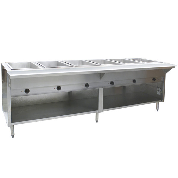Eagle Group HT6OB Liquid Propane Steam Table with Enclosed Base 21,000 BTU - Six Pan - Open Well