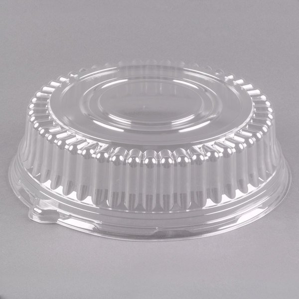 "Visions 12"" Clear PET Plastic Round Catering Tray High Dome Lid - 25/Case"