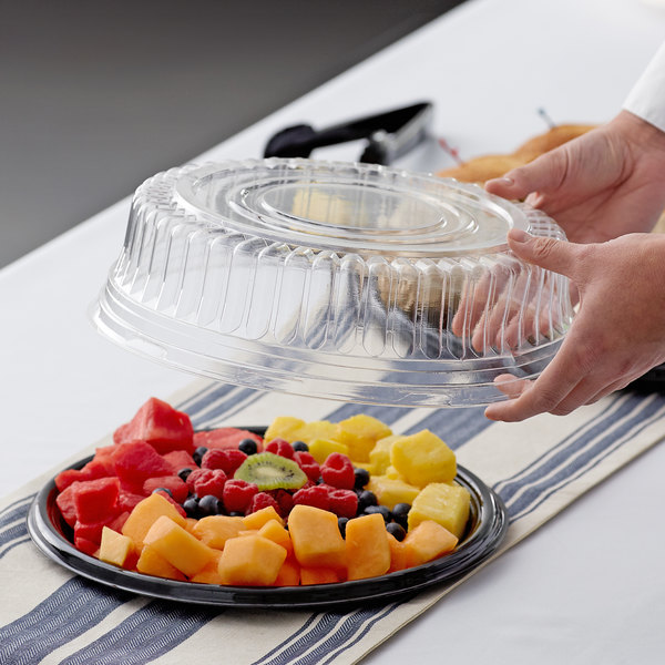 """Visions 12"""" Clear PET Plastic Round Catering Tray High Dome Lid - 25/Case Main Image 2"""