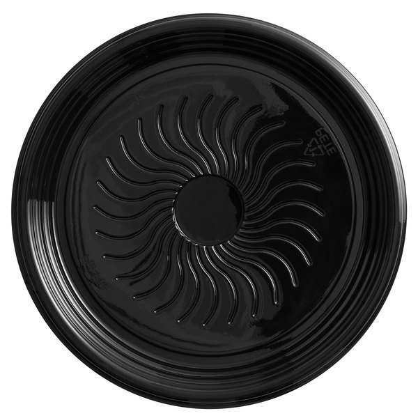 Visions Black PET Plastic 12 inch Thermoform Catering / Deli Tray - 25/Case
