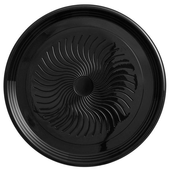 Visions Black PET Plastic 18 inch Thermoform Catering / Deli Tray - 25/Case