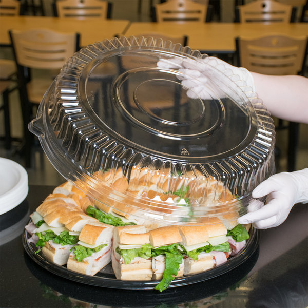 """Visions 16"""" Clear PET Plastic Round Catering Tray Low Dome Lid - 25/Case"""