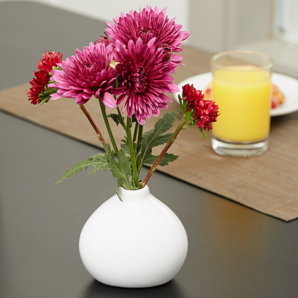 "American Metalcraft BVS3 3 1/2"" x 3 1/8"" White Porcelain Bulbous Vase Main Image 2"