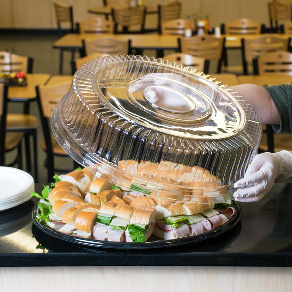 """Visions 18"""" Clear PET Plastic Round Catering Tray High Dome Lid - 25/Case"""