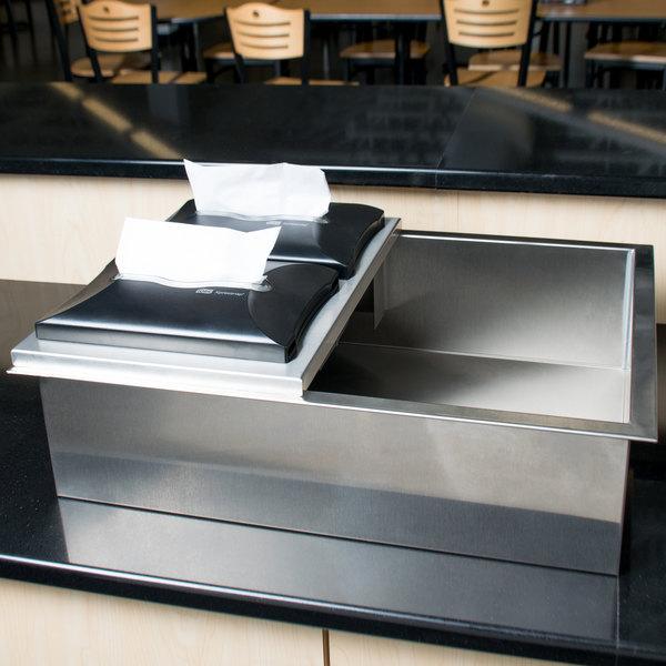Steril-Sil E1-DDF-2V Stainless Steel Flush-Mount Drop-In Silverware Dispenser for Two E1 Inserts Main Image 3