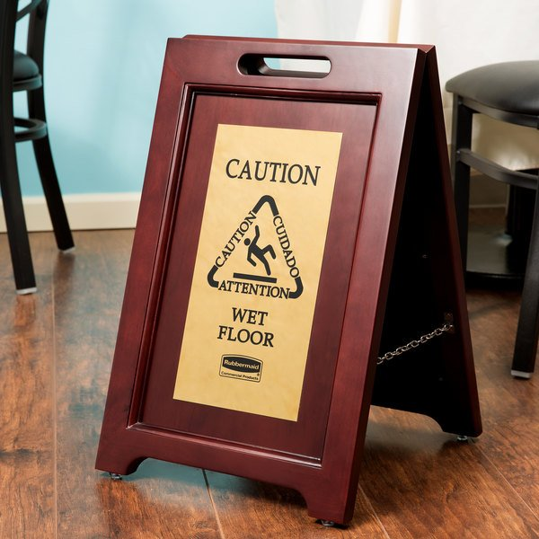 "Rubbermaid 1867507 23 1/2"" 2-Sided Wooden Brass Plated Executive Wet Floor Sign Main Image 8"