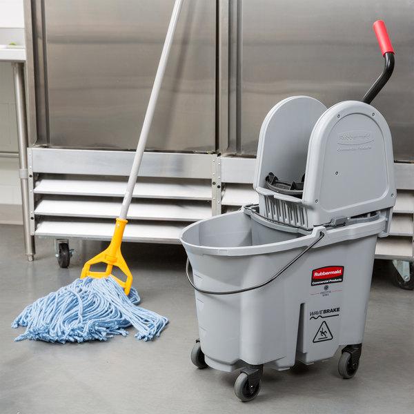 Rubbermaid 1863899 Gray 35 Qt. Executive Series WaveBrake® Down Press Mop Bucket
