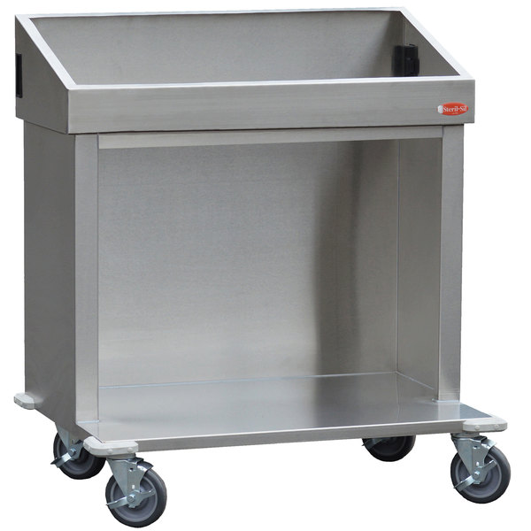Steril-Sil E1-CRT36-3V Stainless Steel Silverware Dispensing Cart for Three E1 Inserts Main Image 1