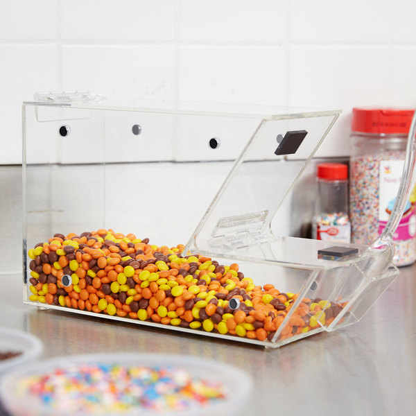 """Choice Stackable Candy / Topping Dispenser with Scoop Holster - 11"""" x 4"""" x 7"""" Main Image 4"""