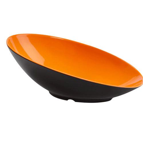 GET B-797-OR/BK Brasilia 1.1 Qt. Orange and Black Oval Slanted Melamine Bowl - 6/Case Main Image 1