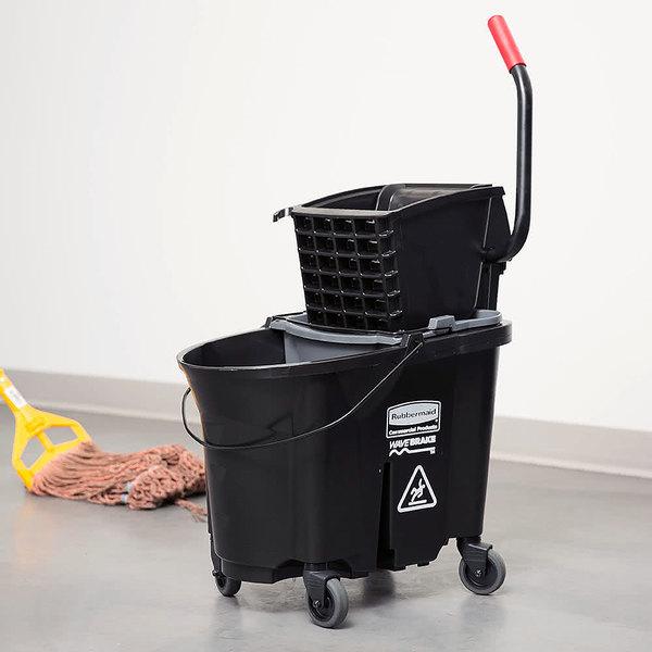 Rubbermaid 1863896 Black 35 Qt. Executive Series WaveBrake® Side Press Mop Bucket