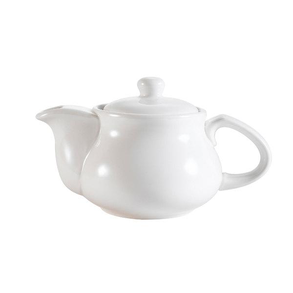 CAC TPW-5 Sushi Signature 9 oz. New Bone White Porcelain Tea Pot - 36/Case