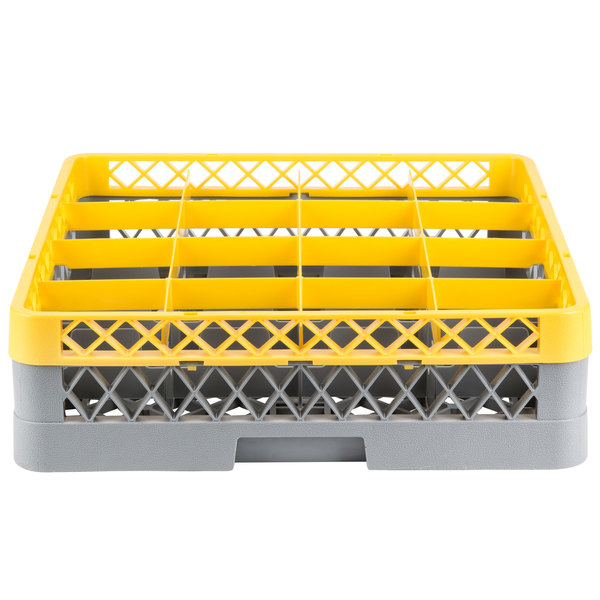 "Noble Products 16-Compartment Gray Full-Size Glass Rack with Yellow Extender - 19 3/8"" x 19 3/8"" x 5 3/4"" Main Image 1"