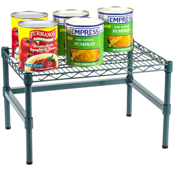 """Regency 24"""" x 18"""" x 14"""" Green Epoxy Coated Wire Dunnage Rack with Extra Support Frame - 600 lb. Capacity"""