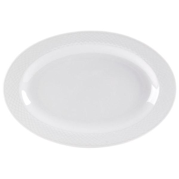 """CAC BST-34 Boston 9"""" x 6 1/8"""" Super Bright White Embossed Porcelain Platter - 24/Case"""