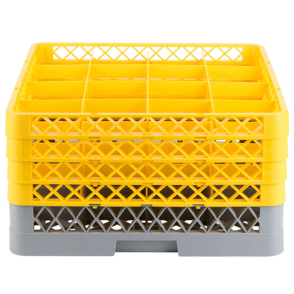 "Noble Products 16-Compartment Gray Full-Size Glass Rack with 4 Yellow Extenders - 19 3/8"" x 19 3/8"" x 10 1/2"""