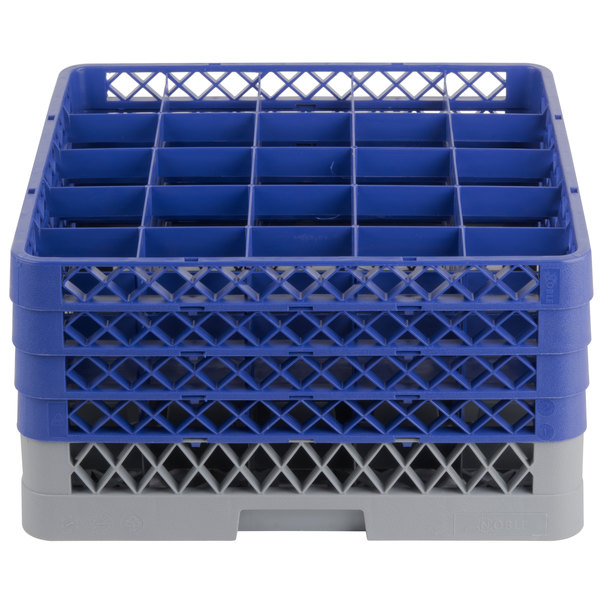 "Noble Products 25-Compartment Gray Full-Size Glass Rack with 4 Blue Extenders - 19 3/8"" x 19 3/8"" x 10 1/2"""