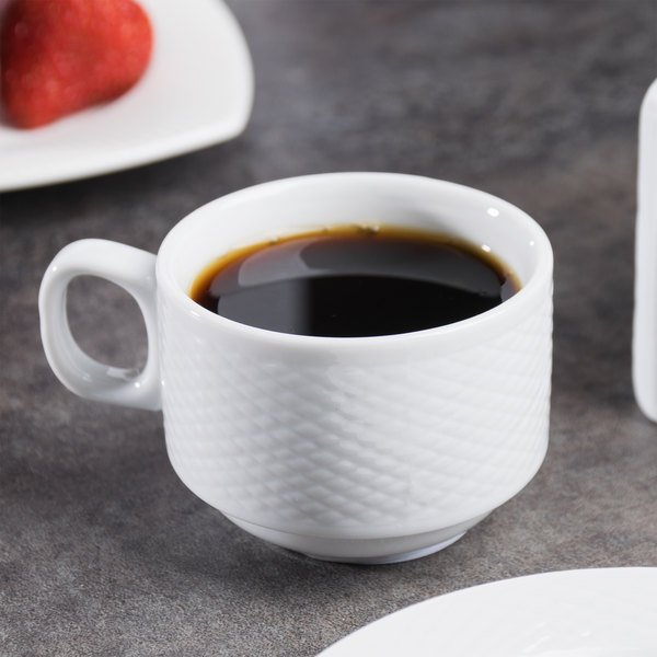 CAC BST-35 Boston 3.5 oz. Super Bright White Embossed Porcelain Cup - 36/Case Main Image 6