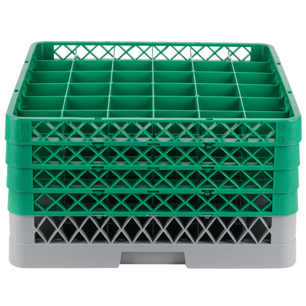 "Noble Products 36-Compartment Gray Full-Size Glass Rack with 4 Green Extenders - 19 3/8"" x 19 3/8"" x 10 1/2"""