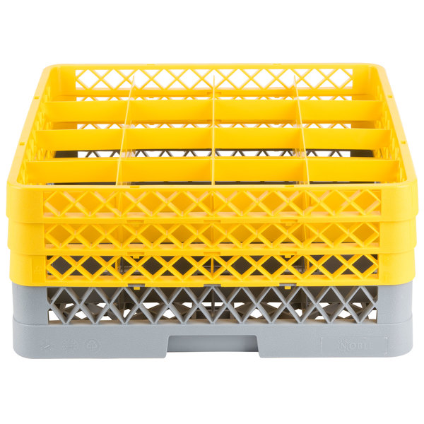 """Noble Products 16-Compartment Gray Full-Size Glass Rack with 3 Yellow Extenders - 19 3/8"""" x 19 3/8"""" x 8 3/4"""""""