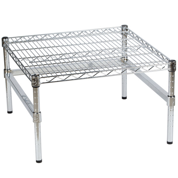 """24/"""" x 24/"""" x 14/"""" Chrome Plated Wire Dunnage Rack Capacity 600 lb"""