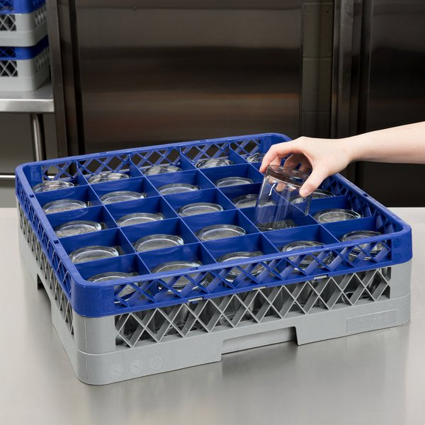 """Noble Products 25-Compartment Gray Full-Size Glass Rack with Blue Extender - 19 3/8"""" x 19 3/8"""" x 5 3/4"""" Main Image 4"""