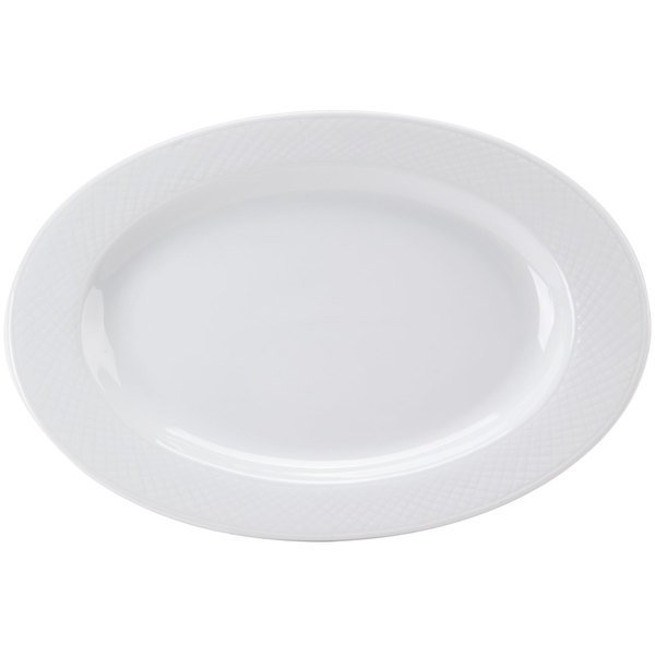 "CAC BST-14 Boston 12 1/2"" x 8 1/2"" Super Bright White Embossed Porcelain Platter - 12/Case"