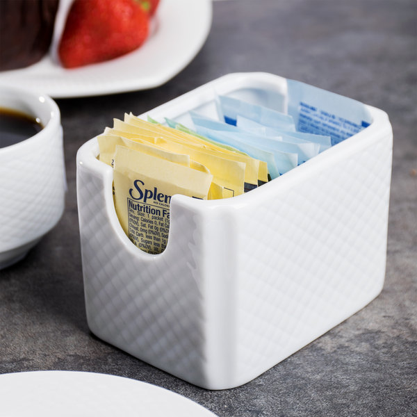 "CAC BST-HSP Boston 3 1/2"" x 2 1/2"" Super Bright White Embossed Porcelain Sugar Caddy - 48/Case"