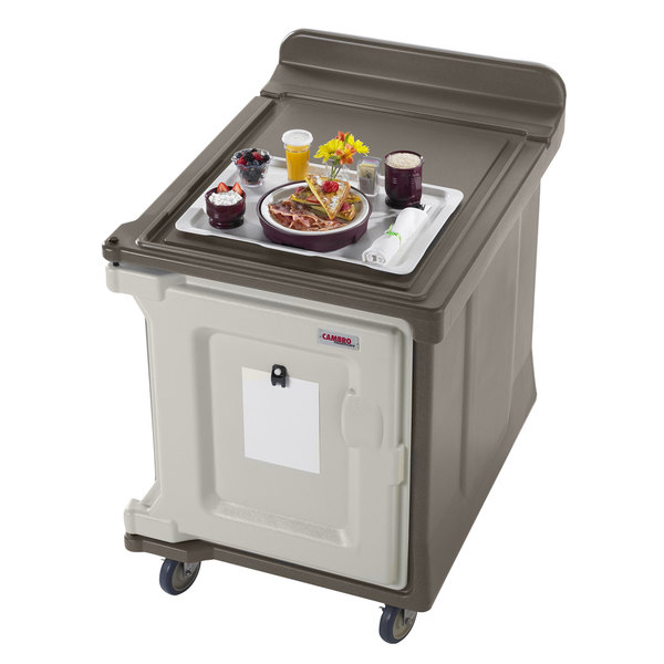 Cambro MDC1520S10194 10-Tray Granite Sand Low Profile Meal Delivery Cart with Standard Casters Main Image 4