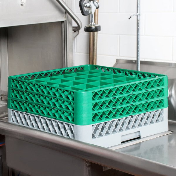 """Noble Products 36-Compartment Gray Full-Size Glass Rack with 3 Green Extenders - 19 3/8"""" x 19 3/8"""" x 8 3/4"""""""